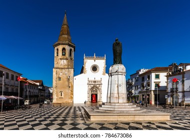 Tomar, Portugal, August 10, 2017:  15th-century Church of St. John the Baptist, built by King Manuel I in the Manueline style.