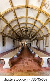 Tomar, Portugal, August 12, 2017: Refectory (dining room) in the Convent of Christ in Tomar, Portugal. The convent is a historic and cultural monument and a UNESCO World Heritage site.