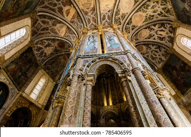 Tomar, Portugal, August 12, 2017: Interior of the Tomar's Knights Templar Round church decorated with late Gothic painting and sculpture.