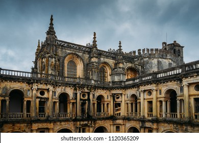 Tomar, Portugal - June 10, 2018: Facade to 12th-century Convent of Tomar in Manueline style - Tomar, Portugal - UNESCO World Heritage Ref: 265