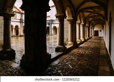 Tomar, Portugal - June 10, 2018: Claustro de D. Joao III, courtyard at 12th-century Convent of Christ in Tomar, Portugal UNESCO World Heritage Site Ref: 264