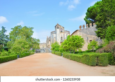 Tomar, Portugal - Sep 5th 2018: The main church of the Convent of Tomar constructed by the Knights Templar. The Romanesque round church from 12th century is a popular tourist spot.