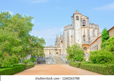 Tomar, Portugal - Sep 5th 2018: Beautiful romanesque round church from 12th century belonging to the Convent of Tomar complex. The original rotunda was built by Order of Templar.