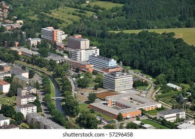 Tomas Bata Hospital Zlin, general view and ambulance