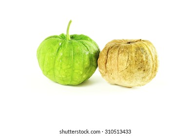 tomatillo or mexican green tomato fruit or vegetable in white background