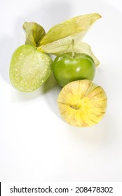 Tomatillos On A White Background