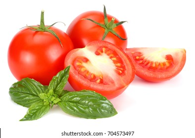 tomato with basil leaf isolated on white background
