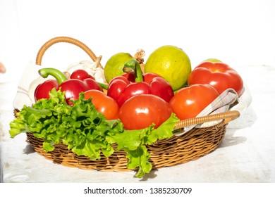 Tomato bell pepper lemon Vegetables in basket