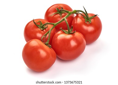 Tomato branch. Ripe fresh tomatoes, close-up, isolated on white background.