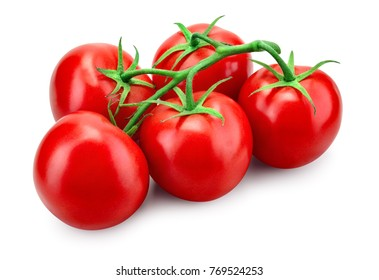 Tomato. Tomato branch. Tomatoes isolated on white. With clipping path. Full depth of field.