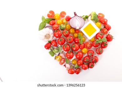tomato bunch with basil, garlic, oil