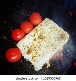 tomato and cheese on fire