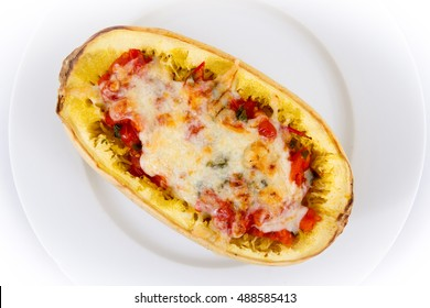 tomato and cheese stuffed spaghetti squash