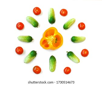 tomato, cucumber, bell pepper, isolate on white background, top view, abstract composition