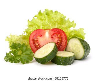 tomato, cucumber vegetable and lettuce salad isolated on white background