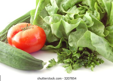 Tomato, cucumbers and cabbage