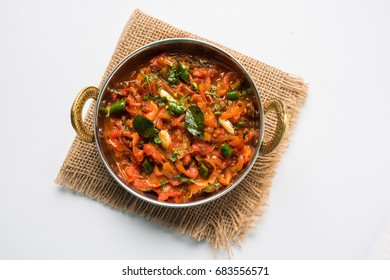 Tomato Curry OR Sabzi also known as Sabji or Chutney,  popular indian vegetable menu for main course. selective focus