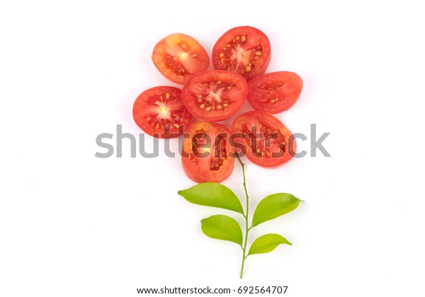 Tomato cut and arranged into a flower.