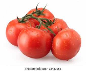 tomato dew red isolated vegetable round drops
