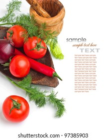 tomato and dill on a plate and white background