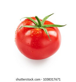 Tomato with drops of water isolated on white background
