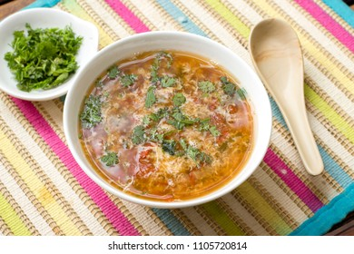 Tomato egg drop coriander soup is a easy and simple soup recipe which has a strong sweet and sour taste.