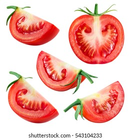 Tomato. Fresh vegetable isolated on white. Whole, half, slice, piece, quarter, section, segment. Collection.
