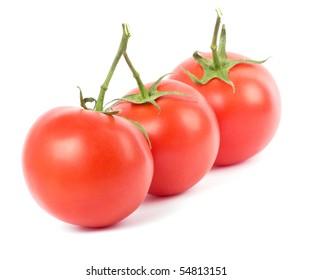 Tomato fruits on white background