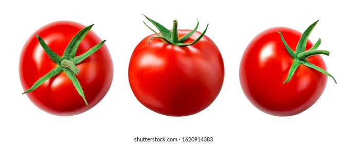 Tomato isolate. Tomato on white background. Tomatoes top view, side view.