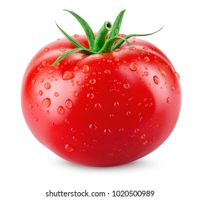 Tomato isolated. Tomato with drops. With clipping path.