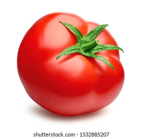 Tomato isolated on white background (clipping path). Tasty ripe organic fresh red tomato with natural green stalk