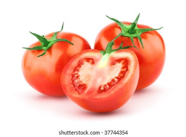Tomato isolated on white background. Organic food. Ideal for packaging design, labels, posters and more.
