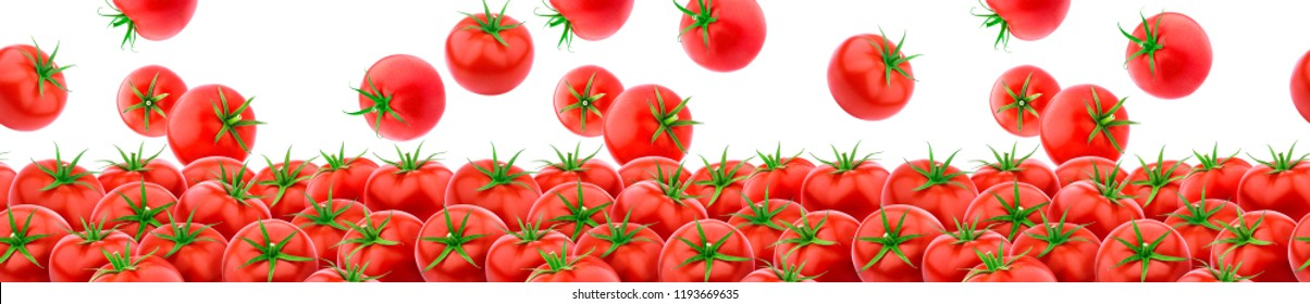 Tomato isolated. Seamless pattern with heap of fresh tomatoes