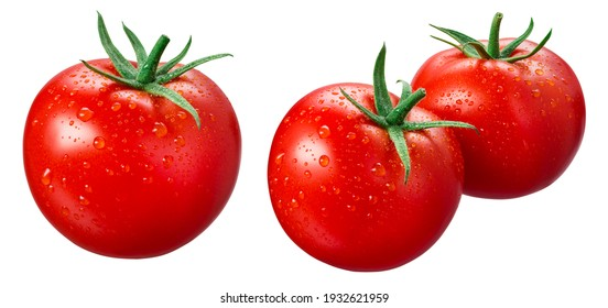 Tomato isolated. Tomatoes with drops on white background. Set of wet tomato. With clipping path.