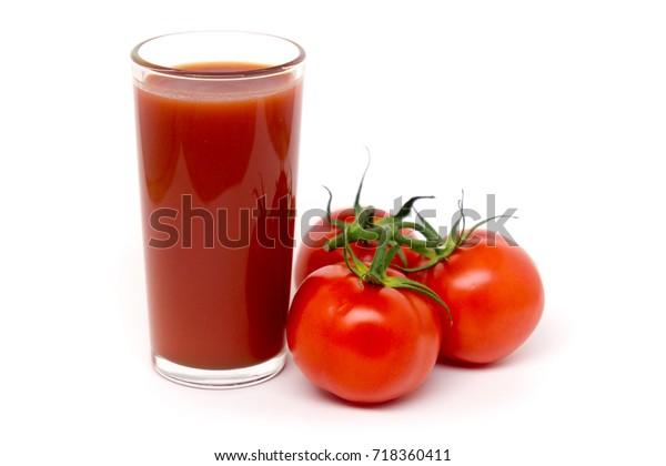 Tomato juice isolated on white background