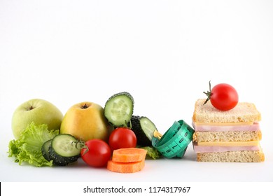tomato juice and products for the diet are on a white background