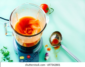 Tomato juice soup in a blender