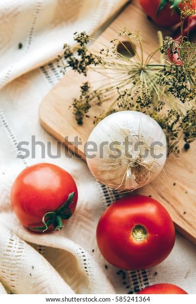 tomato onions vegetables food