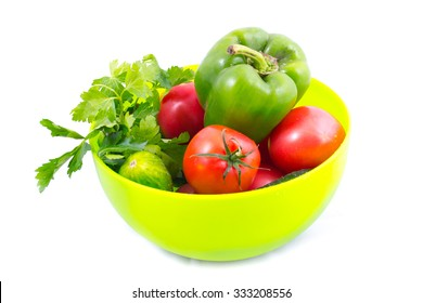 Tomato, pepper, cucumber and parsley in the bowl