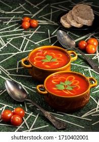 Tomato and pepper soup with tagliatelle