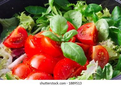 Tomato salad with basil - closeup