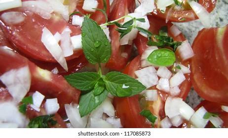 tomato salad with basil, fresh and healthy