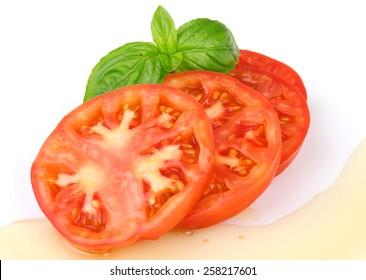 Tomato salad isolated on white background