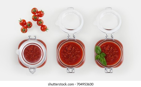 tomato sauce glass jar with tomatoes and basil Isolated on white background