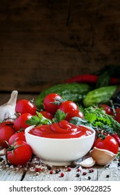 Tomato sauce with herbs and spices, selective focus