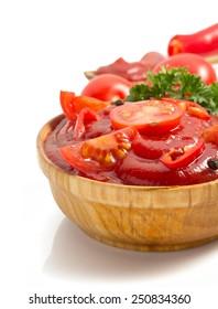 tomato sauce isolated on white background