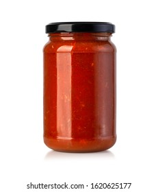 Tomato sauce jar on white background with clipping path - Shutterstock ID 1620625177