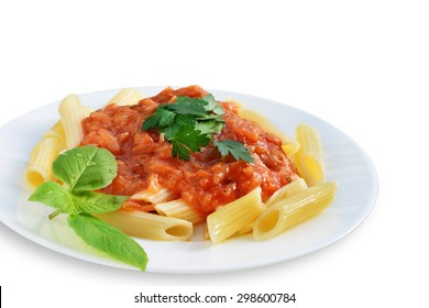 Tomato sauce with penne pasta and herbs on plate isolated on white background.