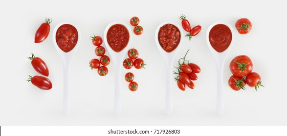 tomato sauce spoon with tomatoes and basil Isolated on white background