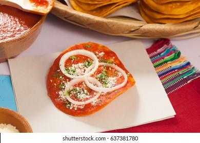 Tomato sauce tostada. (guatemalan food)